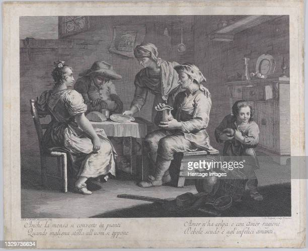 Three people seated around a table at left as a man brings an empty plate, a child taking a loaf of bread at right, 1760-70. 'Anche la mensa si...