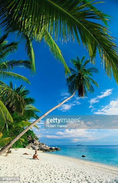 three people sunbathing on the beach of terengganu, perhentian besar, malaysia - terengganu stock pictures, royalty-free photos & images