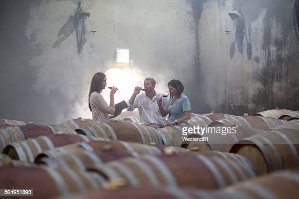 Three people tasting wine in cellar
