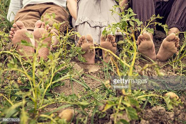 Three people with dirty feet sitting on potato field