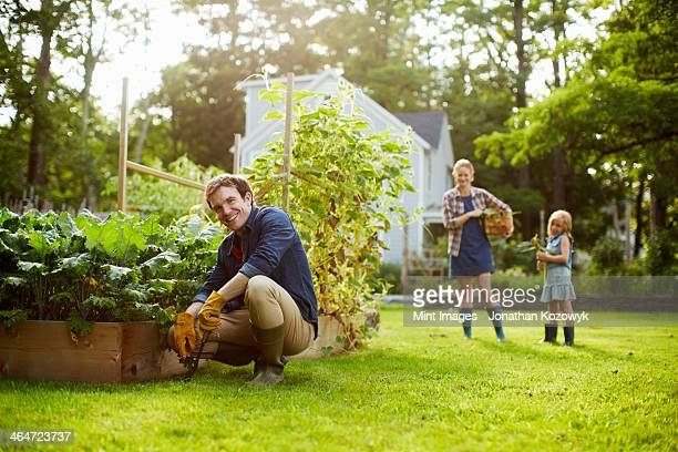 Three people,two adults and a child in a vegetable garden.