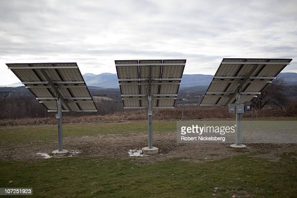 Three photo voltaic panels face western skies, November 28 20 miles south of Albany, New York. Despite being in one of the cloudier regions of the...