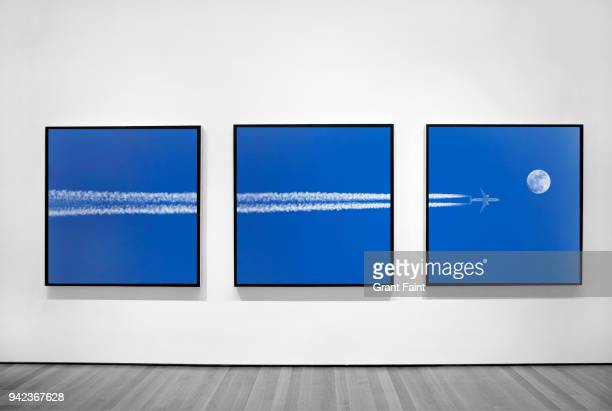 three photographs of jet plane in three frames. - art gallery stock pictures, royalty-free photos & images