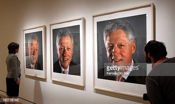Three photographs of President Bill Clinton by Chuck Close that were used for a painting hang in the Crystal Bridges Museum of American Art on...