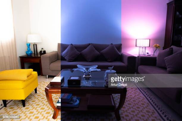 Three picture combination of different lights in living room.
