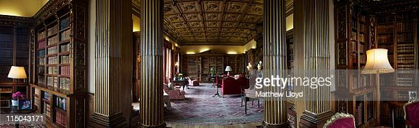 Three pictures show the library in Highclere Castle on March 15 2011 in Newbury England Highclere Castle has been the ancestral home of the Carnarvon...