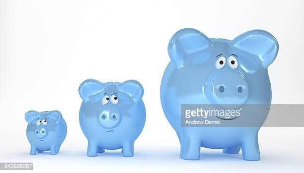 three piggy banks in a row - andrew dernie stock pictures, royalty-free photos & images