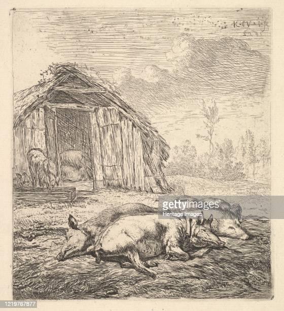 Three pigs lying on their sides, a pigsty and trough beyond, 1652. Artist Karel Du Jardin.