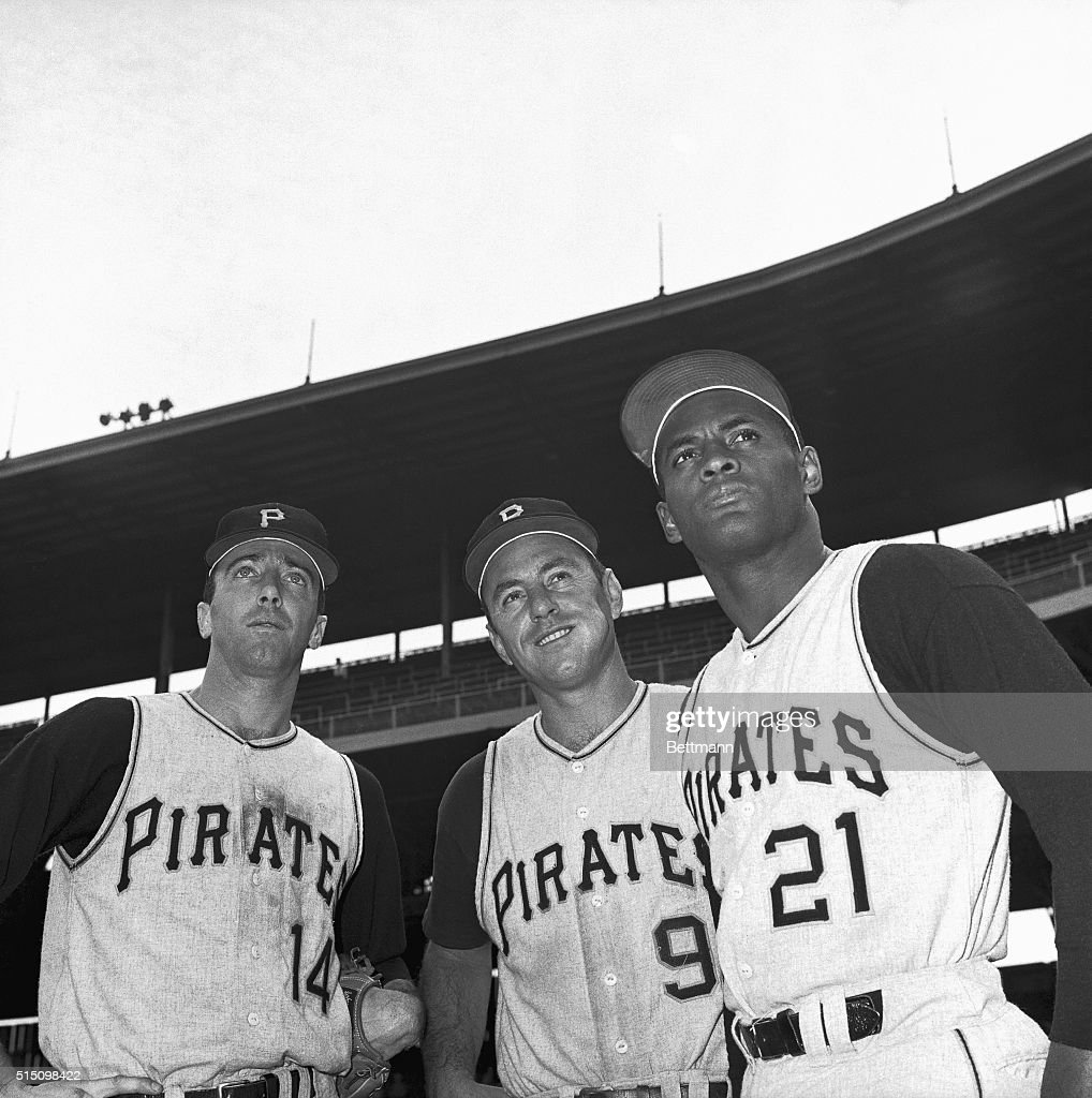 Three Pittsburgh Pirates who were voted to the starting lineup on the National League All-Star team look over Wrigley Field here 6/29 before the game against the Cubs. They will meet the American League All-Star team July 11, at Anaheim, California. From left: Infielder Gene Alley; infielder Bill Mazeroski, and outfielder Roberto Clemente.