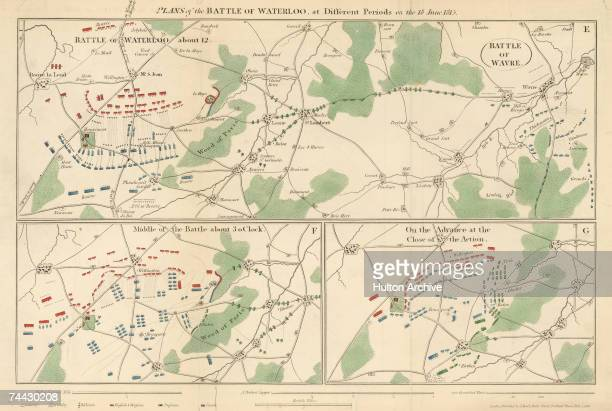 Three plans of the Battle of Waterloo in Belgium which saw the defeat of Napoleon Bonaparte by an allied force led by the Duke of Wellington and...