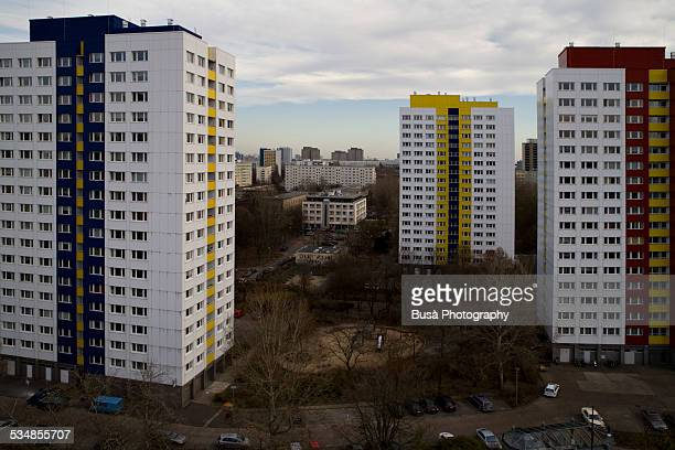 Three Plattenbauten in East Berlin