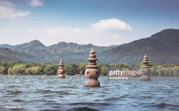 three pools mirroring the moon in westlake,hangzhou,china - west lake hangzhou stock pictures, royalty-free photos & images