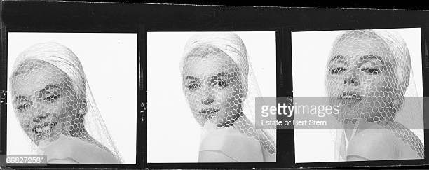 Three portraits of American actress Marilyn Monroe (1926 - 1962) wearing a white veil, Beverly Hills, California, July 1962. The two sessions for the photoshoot took place in late June and early July, only weeks before her death on 5th August 1962. The images were published posthumously in Vogue magazine under the title 'The Last Sitting'.