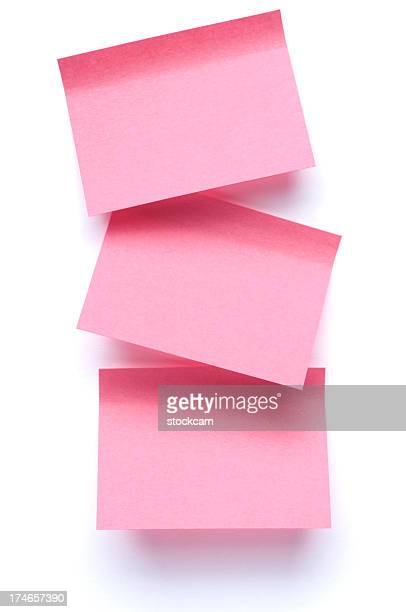 three post-it notes on white - three objects stock pictures, royalty-free photos & images