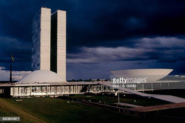 Three Powers Square and the National Congress architect Oscar Niemeyer at sunset Brasilia Brazil 20th century