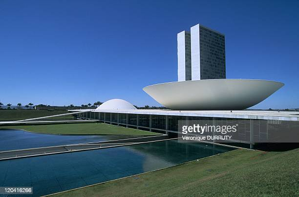 Three Powers square in Brasilia Brazil in 2005 The new capital Brasilia was built from 1957 on an uninhabited site The city map conceived by...