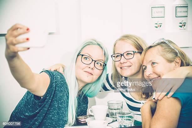 Three Pretty Women Taking Selfie Caffe Trieste, Europe