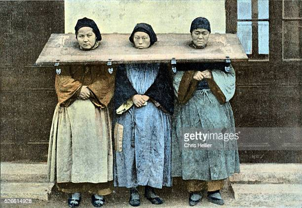 Three Prisoners in Cangue or Wooden Pillory as Public Punishment & Humiliation China c1890