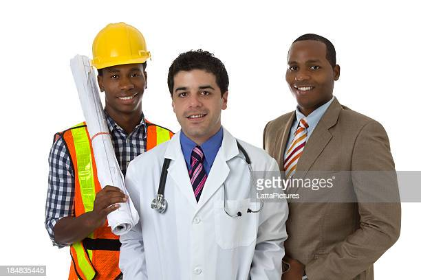 Three professional, a doctor, a businessman and a construction worker