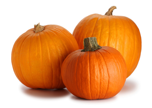 Three Pumpkins Isolated on White 123500946
