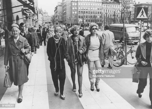 Three punk girls on the streets of Stockholm 20th May 1977 From left to right they are Ingrid Sylvia and Karin