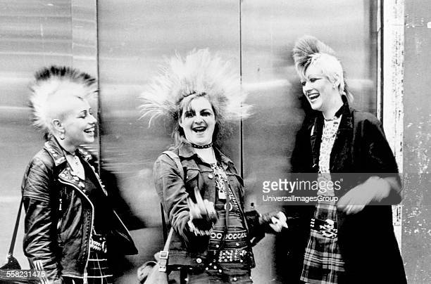 Three punks with mohicans Chelsea Kings Rd London UK 1970's