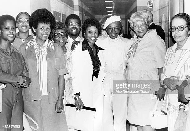 Three quarter length portrait of cast members of the Broadway Musical 'Bubbling Brown Sugar' at the ANTA Theatre, New York, New York, 1976.