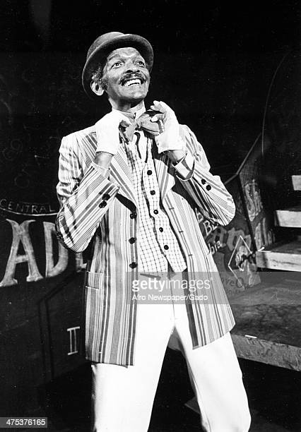 Three quarter length portrait of Charles 'Honi' Coles on stage in the Broadway Show 'Bubbling Brown Sugar' at the ANTA Theatre on Broadway, standing...