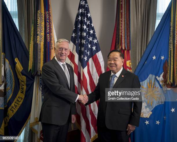 Three quarter length portrait of Defense Secretary James N Mattis meeting with His Excellency Prawit Wongsuwon Minister of Defence for the Kingdom of...