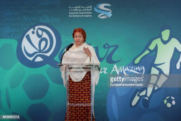 Three quarter length portrait of Deputy SecretaryGeneral Amina Mohammed during a highlevel exhibition on Harnessing the Power of Sport in Achieving...