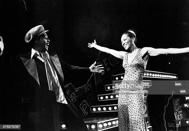 Three quarter length portrait of Mable Lee and Richard Brown on stage in the Broadway Show 'Bubbling Brown Sugar' at the ANTA Theatre on Broadway,...