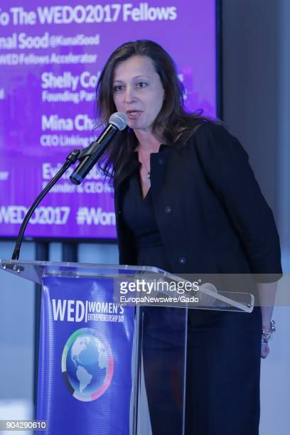 Three quarter length portrait of Monica Iken attending 2017 Women's Entrepreneurship at the United Nations headquarters in New York City New York...