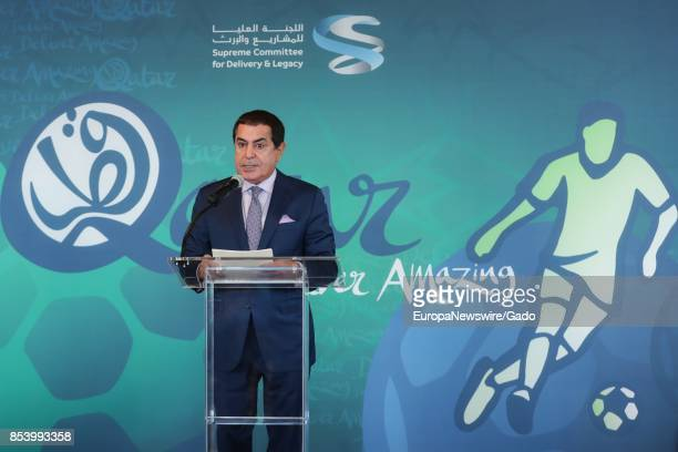 Three quarter length portrait of Nassir Abdulaziz AlNasser of Qatar during a highlevel exhibition on Harnessing the Power of Sport in Achieving...