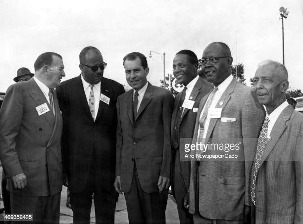 A three quarter length portrait of President Richard Nixon flanked by five men including Francis Sherman Farley New Jersey State Senator from...