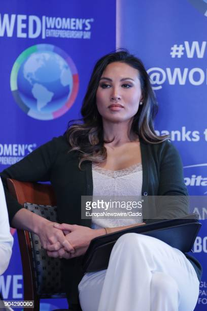 Three quarter length portrait of singer Mina Chang at 2017 Women's Entrepreneurship event at the United Nations headquarters in New York City New...