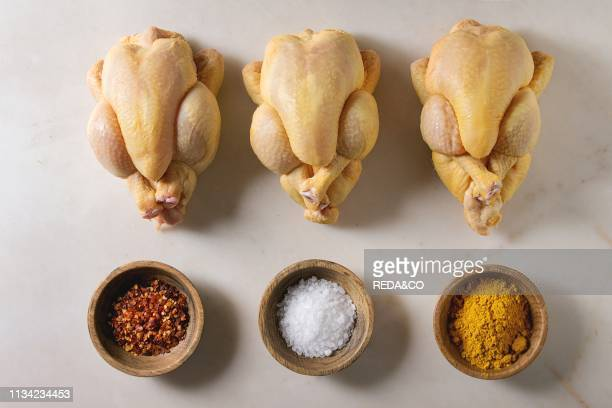 Three raw organic uncooked whole yellow corn mini chicken in row with salt turmeric powder red hot chili pepper in bowls over marble background...