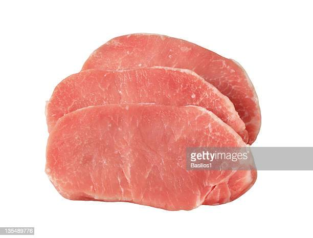 three raw pork steaks - pork stock pictures, royalty-free photos & images