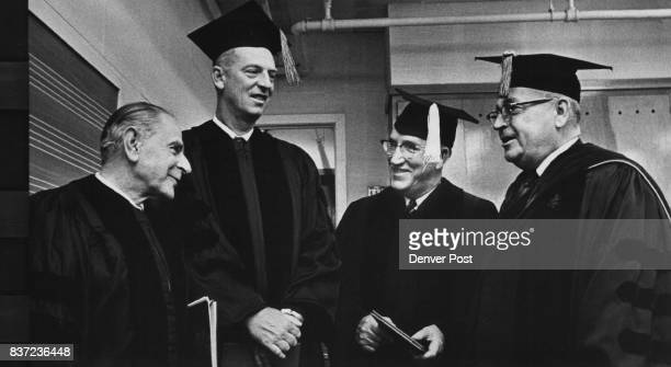 Three Recipients Of Honorary Degrees Chat With DU Chancellor Chester M Alter Right Honorees are from left Sir Karl Popper London historian ***** of...