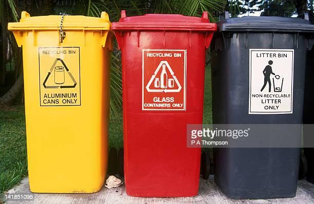 three recycling bins, sydney, australia - sydney ストックフォトと画像