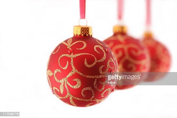 Three Red Christmas Ornaments