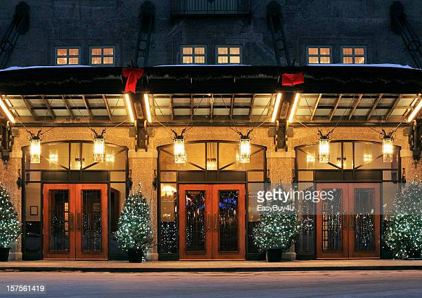 three red door entrances to the same building - hotel stock pictures, royalty-free photos & images