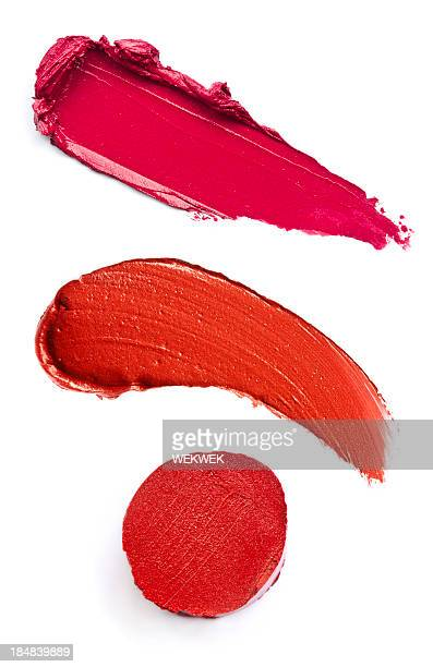three red lipstick smeared - lipstick stock pictures, royalty-free photos & images