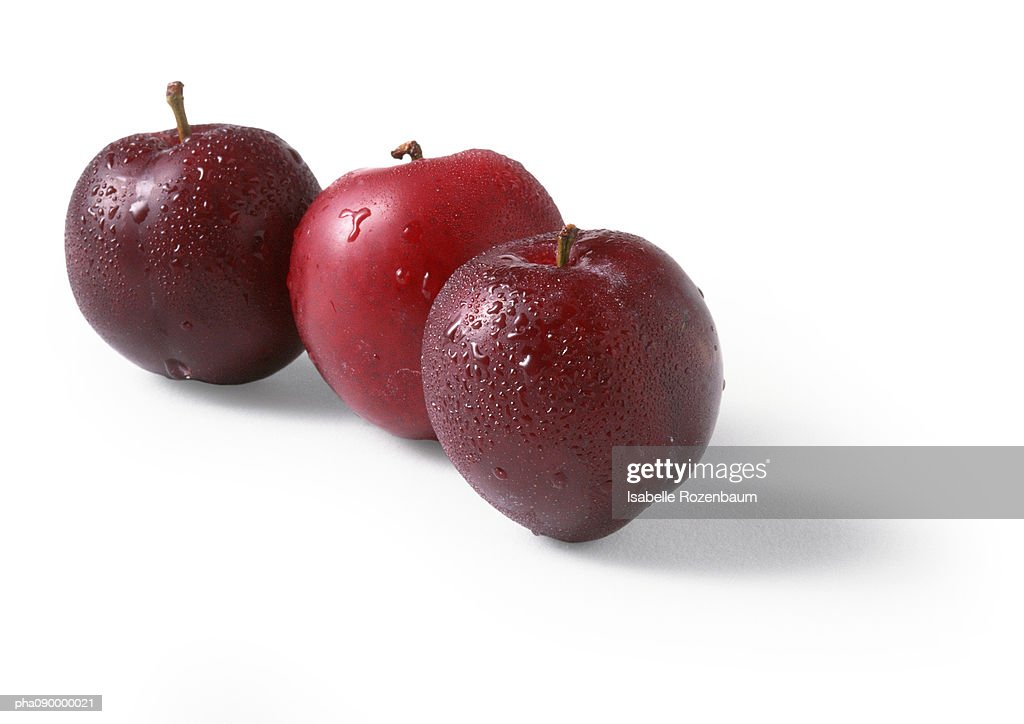 Three red plums, white background : Stock Photo