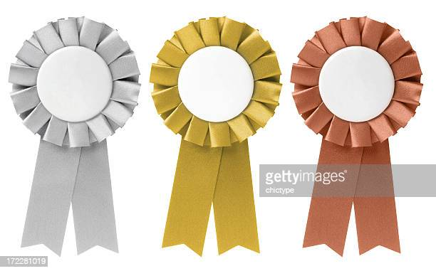 three ribbon awards in silver, gold, and bronze - blue ribbon stock photos and pictures
