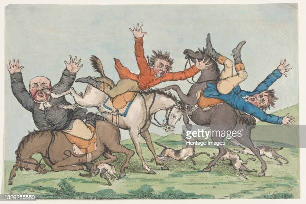 Three Riders Fall from their Mounts, 1780-1820. Artist Unknown.