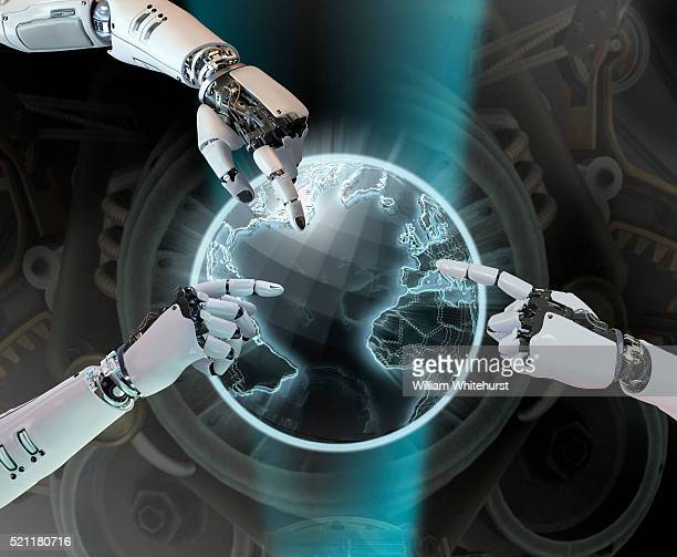 Three Robot Hands Selecting Information on Globe