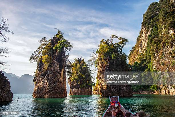 Three rocks in Cheow Lan Lake, Khao Sok National Park at Suratthani,Thailand