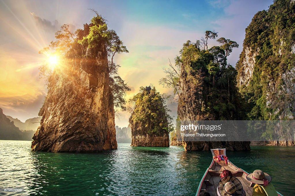 Three rocks in Cheow Lan Lake, Khao Sok National Park at Suratthani,Thailand : Stock Photo