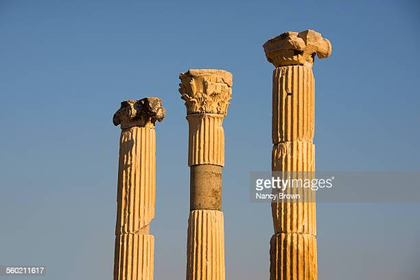Three Roman column ruins in Ephesus