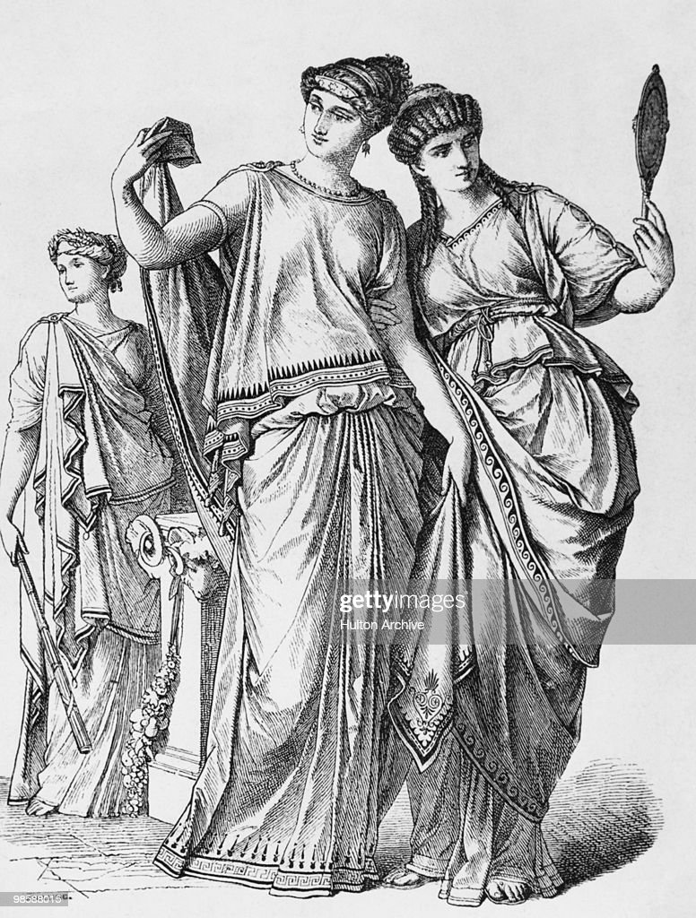 Three Roman ladies wearing the traditional stola or dress